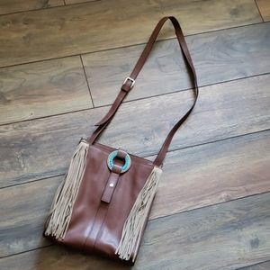 Gorgeous NWOT partial leather crossbody purse